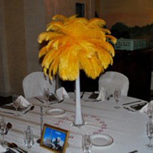 Yellow ostrich feather centerpiece