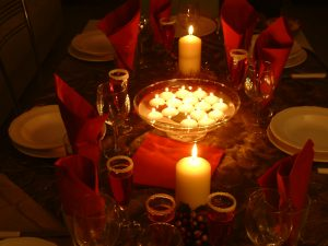 Christmas Candles on Table